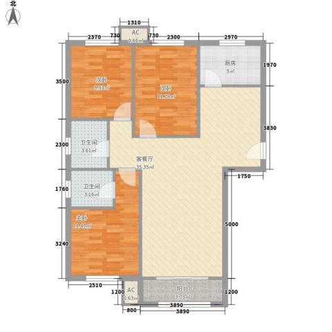 碧水蓝天3室1厅2卫1厨118.00㎡户型图