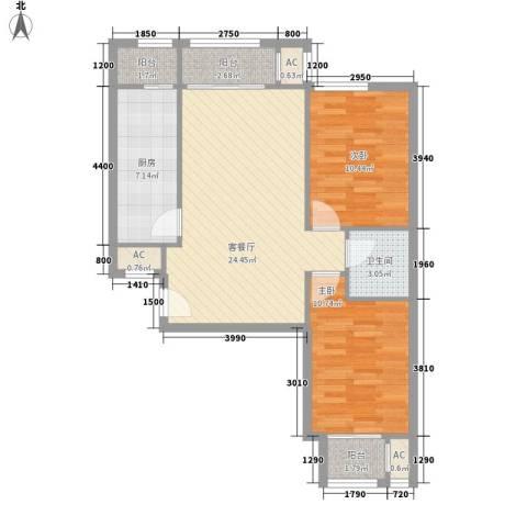 碧水蓝天2室1厅1卫1厨97.00㎡户型图