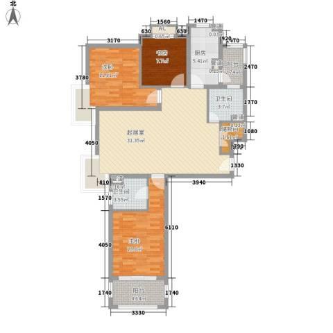 中信虹港名庭3室0厅2卫1厨128.00㎡户型图