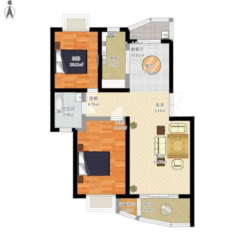上南翡翠苑2室1厅1卫1厨112.00㎡户型图