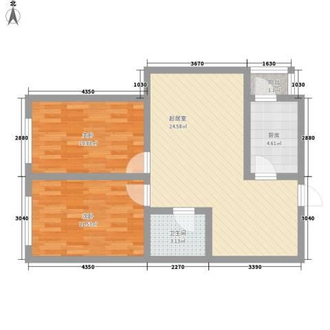 新星花园2室0厅1卫1厨81.00㎡户型图