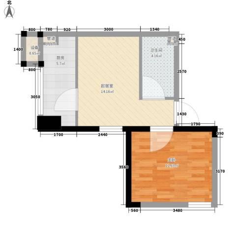 CROSS万象汇1室0厅1卫1厨56.00㎡户型图
