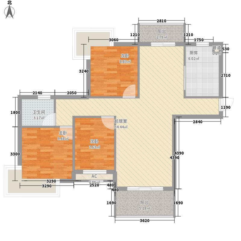丰源淳和111.22㎡二期5号楼西端户型3室2厅1卫1厨