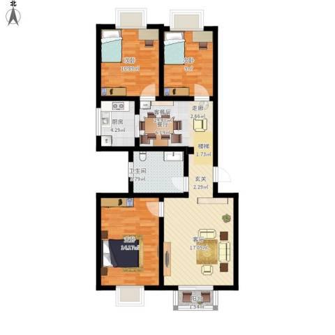 西航花园3室1厅1卫1厨109.00㎡户型图