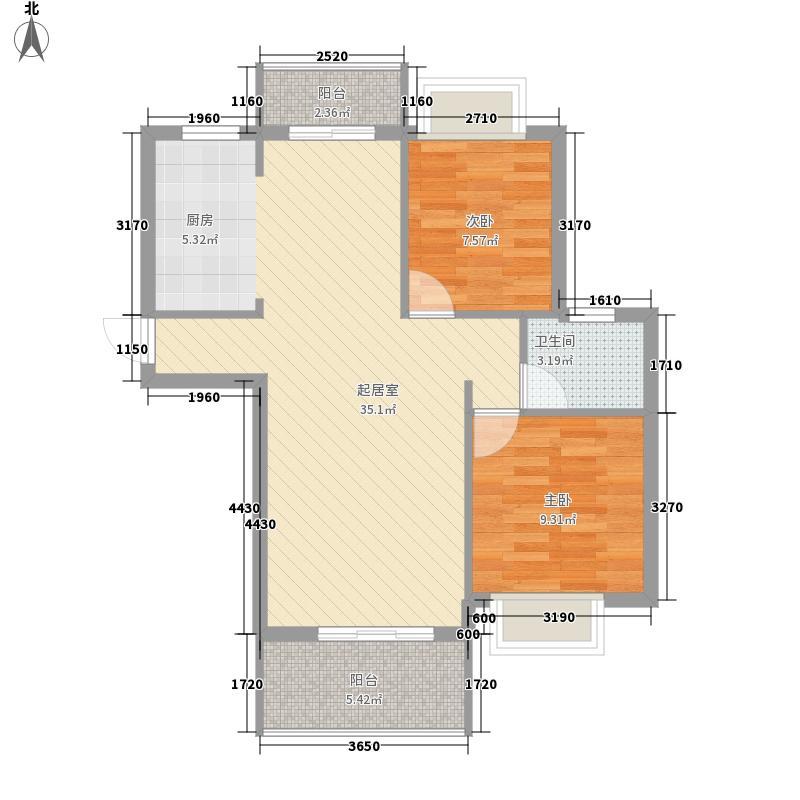 丰源淳和88.14㎡二期6#、7#高层户型1室2厅1卫1厨