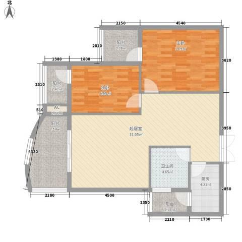 世纪城龙昌苑2室0厅1卫1厨91.71㎡户型图