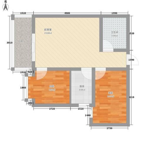 迎西城・龙湾佳园2室0厅1卫1厨71.00㎡户型图