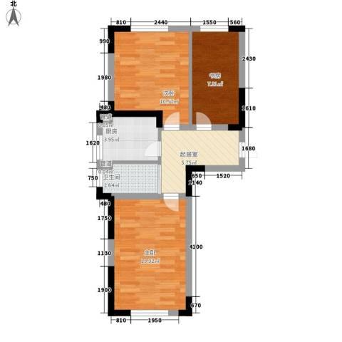大禹城邦3室0厅1卫1厨64.00㎡户型图