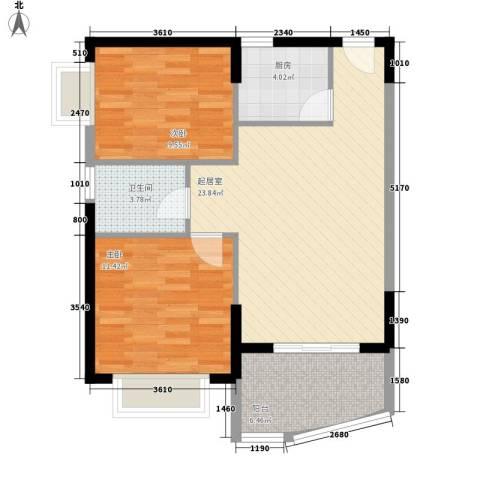 三亚椰岛阳光花园2室0厅1卫1厨78.00㎡户型图