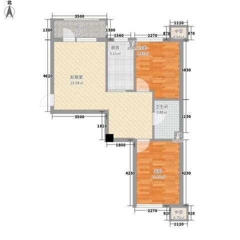 海悦花都2室0厅1卫1厨78.00㎡户型图