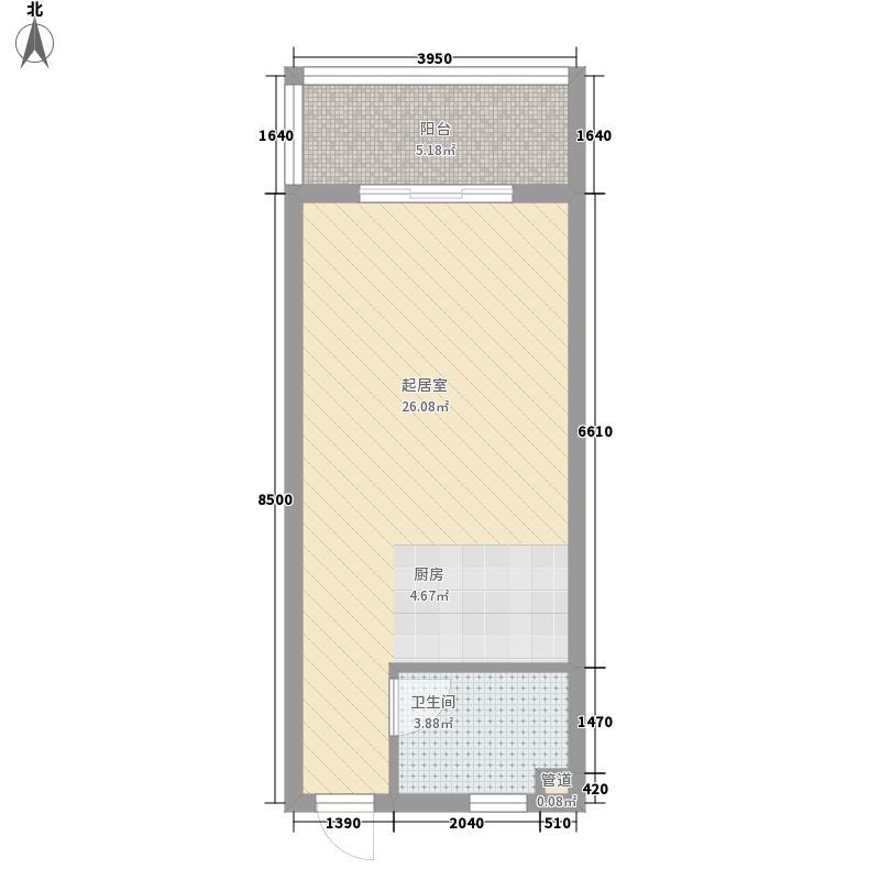 三亚椰岛阳光花园45.60㎡居南山户型图D栋C户型1室1卫1厨户型1室1卫1厨