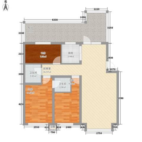 大禹城邦3室0厅2卫1厨125.00㎡户型图