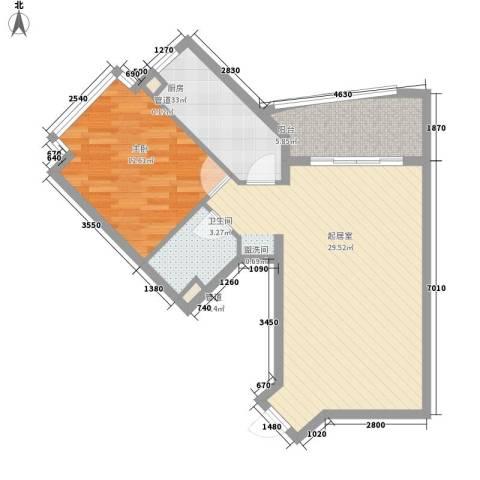 三亚椰岛阳光花园1室0厅1卫1厨75.00㎡户型图