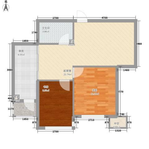 海悦花都2室0厅1卫1厨74.00㎡户型图