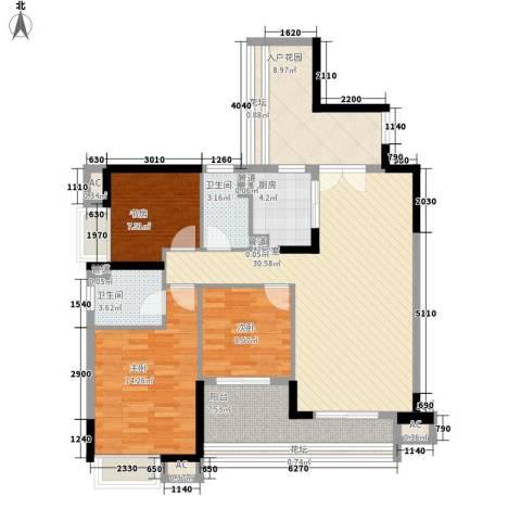 环湖花园3室0厅2卫1厨120.00㎡户型图