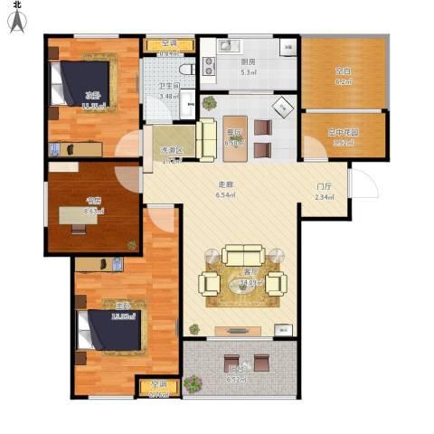 文一名门首府3室1厅1卫1厨131.00㎡户型图