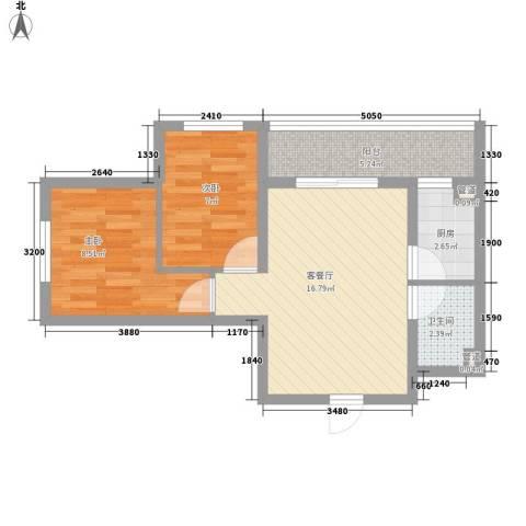 湘江悦2室1厅1卫1厨50.00㎡户型图