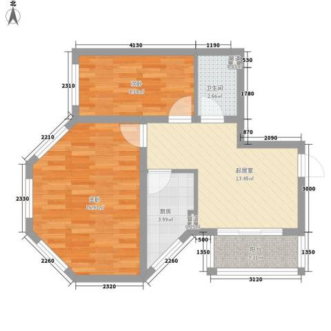 湘江悦2室0厅1卫1厨57.00㎡户型图
