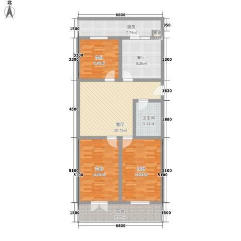 东港嘉园3室2厅1卫1厨131.00㎡户型图