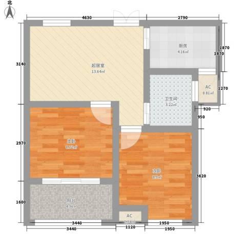 绿地海域香廷2室0厅1卫1厨66.00㎡户型图