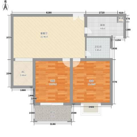 香梅人家2室1厅1卫1厨85.00㎡户型图