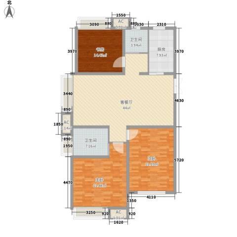 绿地海域香廷3室1厅2卫1厨172.00㎡户型图