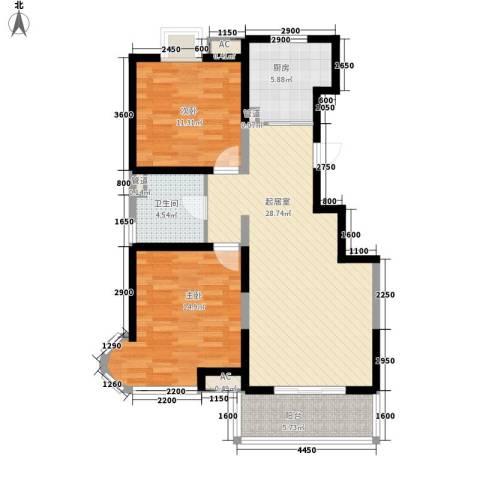 顺义金宝城2室0厅1卫1厨96.00㎡户型图