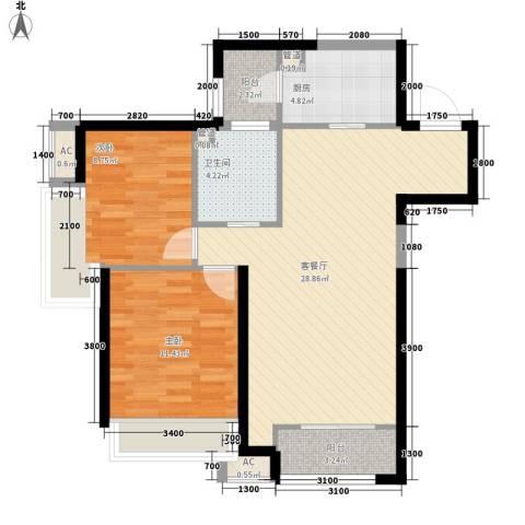 振业城中央2室1厅1卫1厨65.06㎡户型图