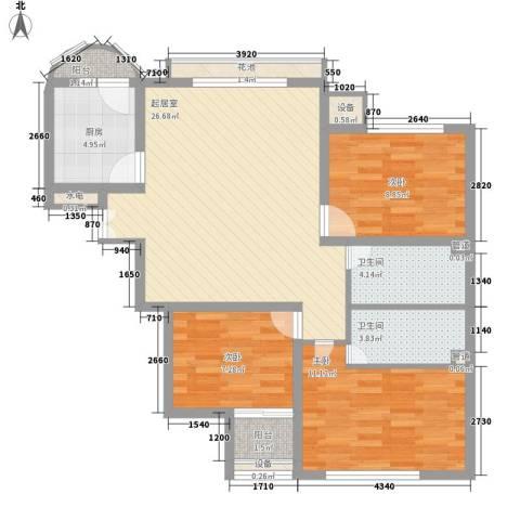 盛达家园3室0厅2卫1厨105.00㎡户型图
