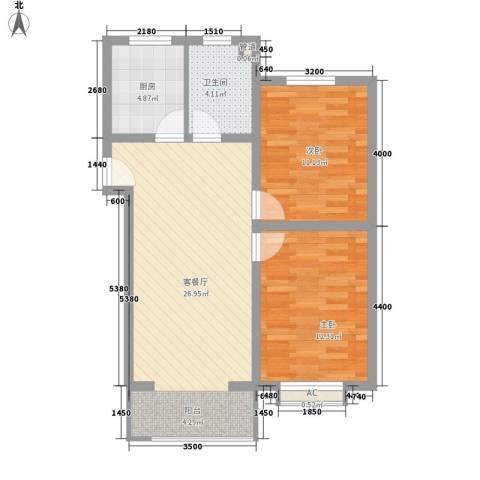 荷花盛世二期2室1厅1卫1厨89.00㎡户型图