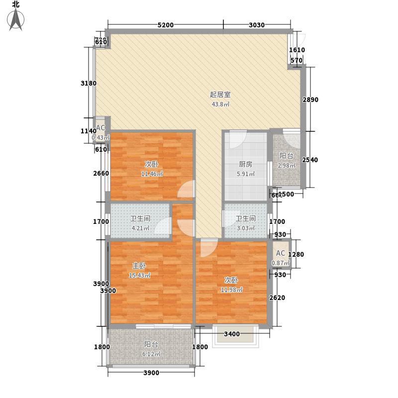 海上名门3212户型3室2厅1卫2厨