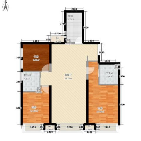 振业城中央3室1厅2卫1厨94.00㎡户型图