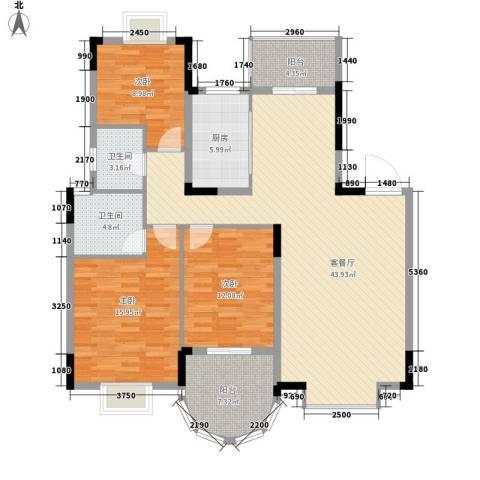 绿地海域香廷3室1厅2卫1厨106.55㎡户型图