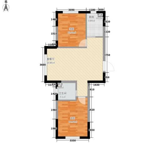 多恩居住岛2室1厅1卫1厨75.00㎡户型图