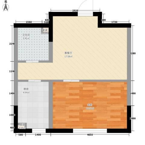 多恩居住岛1室1厅1卫1厨55.00㎡户型图