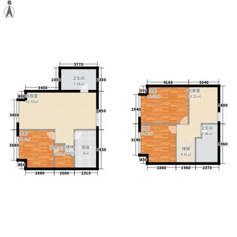 星海大观(沿海国际中心二期)3室0厅2卫1厨182.00㎡户型图