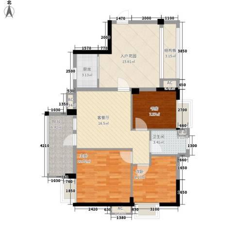 万科城3室1厅1卫1厨104.00㎡户型图