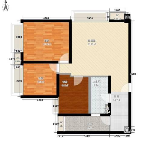 中信德方斯3室0厅1卫0厨90.00㎡户型图