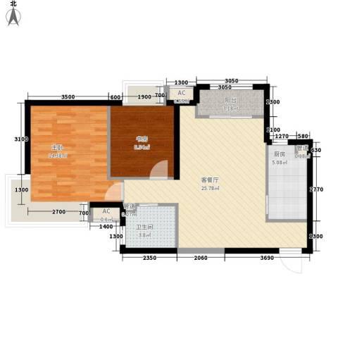 振业城中央2室1厅1卫1厨87.00㎡户型图