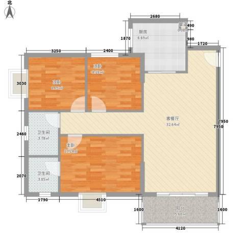 翠怡居住宅3室1厅2卫1厨115.00㎡户型图