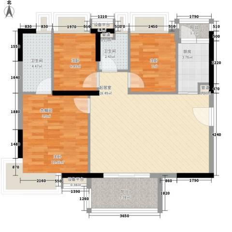 新世纪广场3室0厅2卫1厨103.00㎡户型图