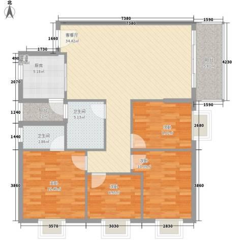 翠怡居住宅4室1厅2卫1厨131.00㎡户型图