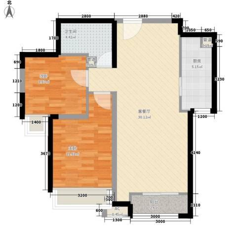 振业城中央2室1厅1卫1厨63.49㎡户型图