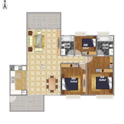 中海万锦东苑3室1厅2卫1厨135.00㎡户型图