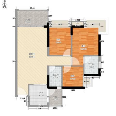 可逸豪苑3室1厅2卫1厨97.00㎡户型图