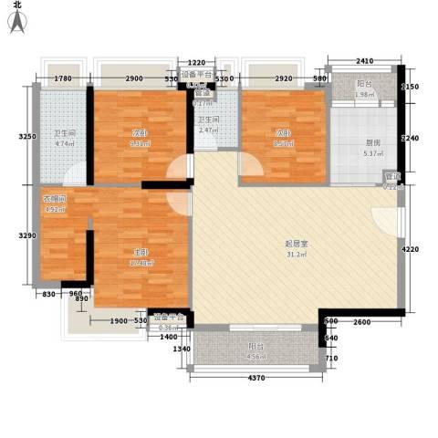 新世纪广场3室0厅2卫1厨124.00㎡户型图