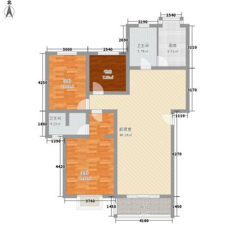 富景花园3室0厅2卫1厨140.00㎡户型图