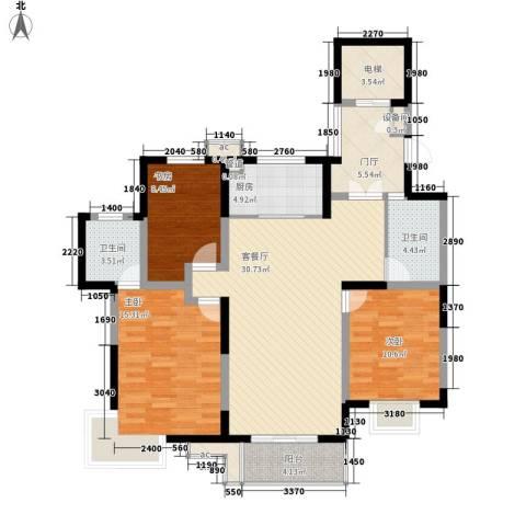 地安汉城国际3室1厅2卫1厨135.00㎡户型图