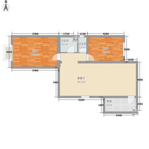 水泉文苑2室1厅2卫1厨106.00㎡户型图