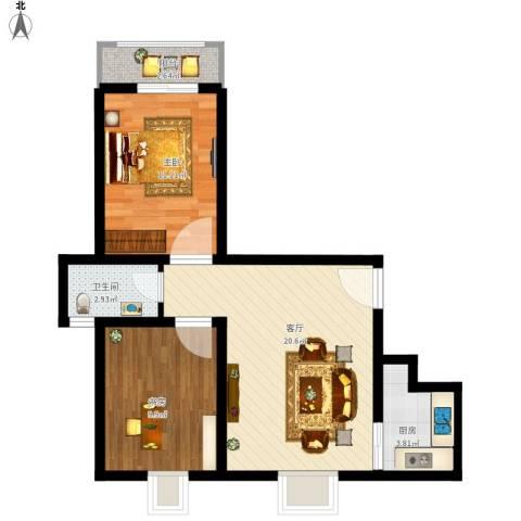 金桥慧景2室1厅1卫1厨74.00㎡户型图